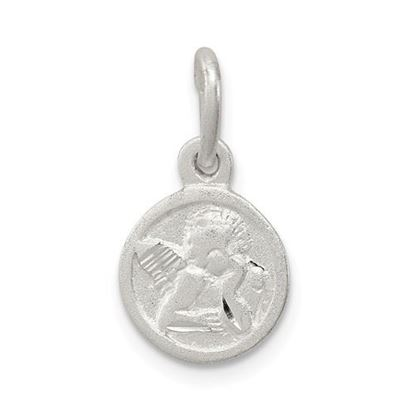 Picture of Sterling Silver Diamond Cut Cherub Disk Charm