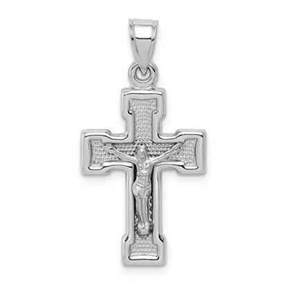 Picture of Sterling Silver Rhodium-plated Hollow Latin Crucifix Pendant