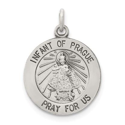 Picture of Sterling Silver Antiqued Infant of Prague Medal
