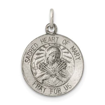 Picture of Sterling Silver Antiqued Sacred Heart of Mary Medal