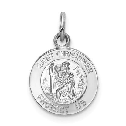 Picture of Sterling Silver Rhodium-plated Saint Christopher Medal
