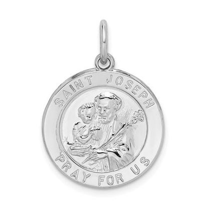 Picture of Sterling Silver Rhodium-plated Saint Joseph Medal