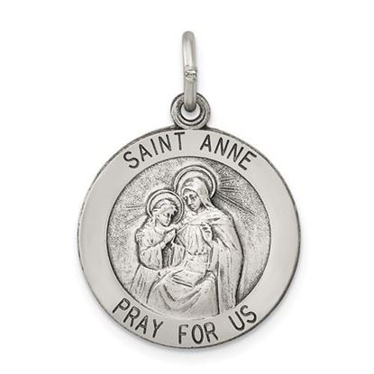 Picture of Sterling Silver Antiqued Saint Anne Medal