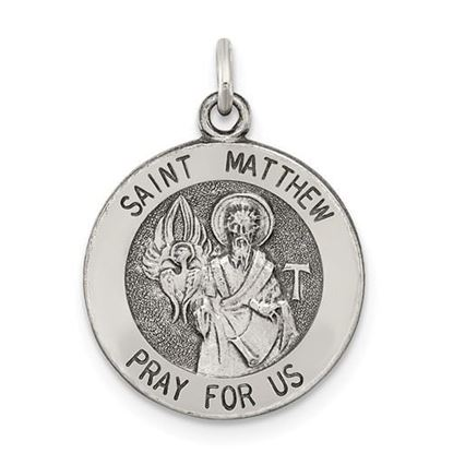 Picture of Sterling Silver Antiqued Saint Matthew Medal
