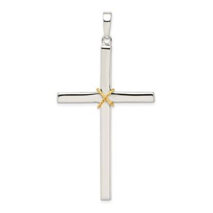 Picture of Sterling Silver Polished Gold-plated Rope Hollow Crucifix Pendant