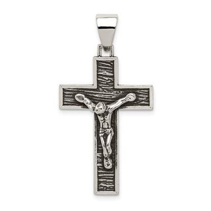 Picture of Sterling Silver Antiqued Box Cross Crucifix Pendant