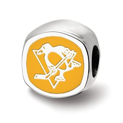 Picture of Pittsburgh Penguins® Sterling Silver Cushion Shaped Logo Bead