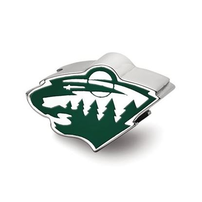 Picture of Minnesota Wild® Sterling Silver Wild Head Enameled Logo Bead