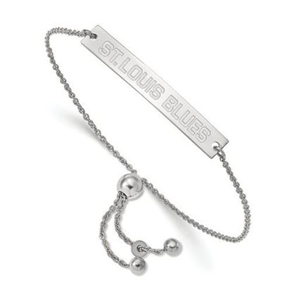 Picture of St. Louis Blues® Rhodium Plated Sterling Silver Small Bar Adjustable Bracelet