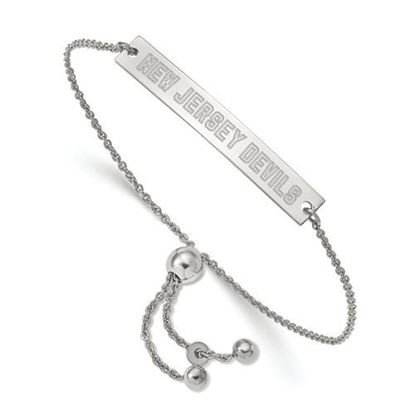 Picture of New Jersey Devils® Rhodium Plated Sterling Silver Small Bar Adjustable Bracelet