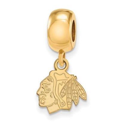 Picture of Chicago Blackhawks® Sterling Silver Gold Plated Extra Small Dangle Bead Charm