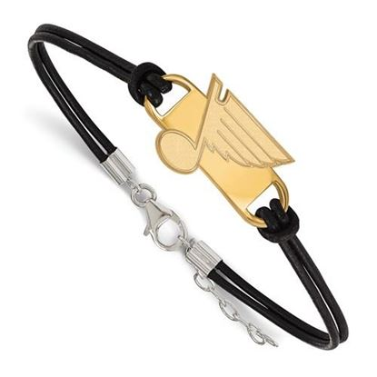 Picture of St. Louis Blues® Sterling Silver Gold Plated Leather Bracelet