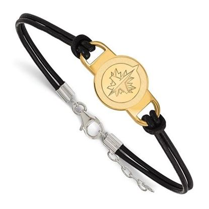 Picture of Winnipeg Jets™ Sterling Silver Gold Plated  Leather Bracelet