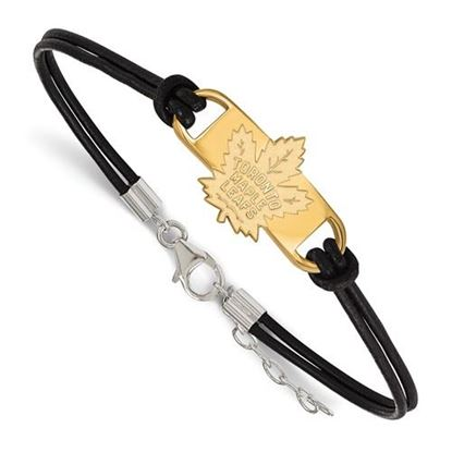 Picture of Toronto Maple Leafs® Sterling Silver Gold Plated Leather Bracelet
