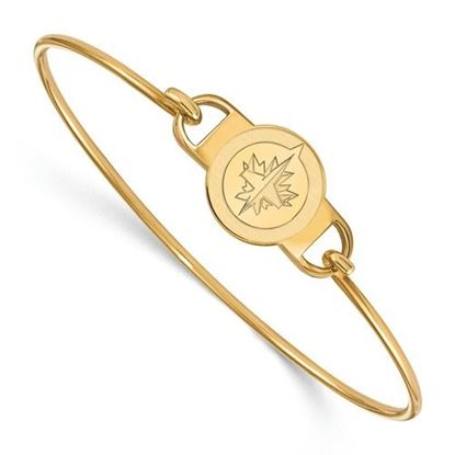 Picture of Winnipeg Jets™ Sterling Silver Gold Plated  Small Center Wire Bangle Bracelet