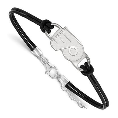Picture of Philadelphia Flyers® Sterling Silver Small Center Leather Bracelet