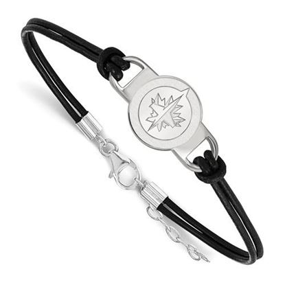 Picture of Winnipeg Jets™ Sterling Silver Small Center Leather Bracelet