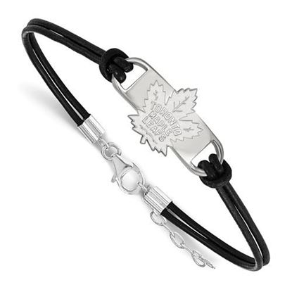 Picture of Toronto Maple Leafs® Sterling Silver Small Center Leather Bracelet