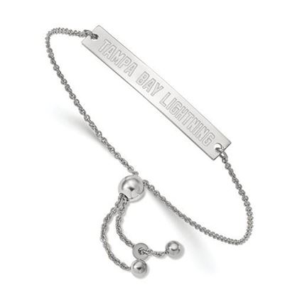 Picture of Tampa Bay Lightning® Rhodium Plated Sterling Silver Small Bar Adjustable Bracelet