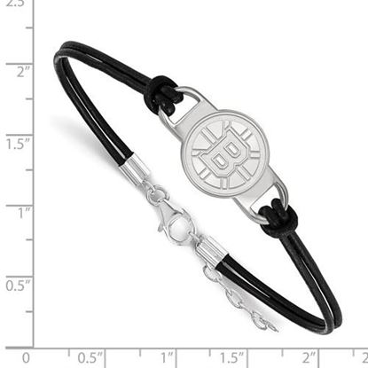 Picture of Boston Bruins® Sterling Silver Small Center Leather Bracelet