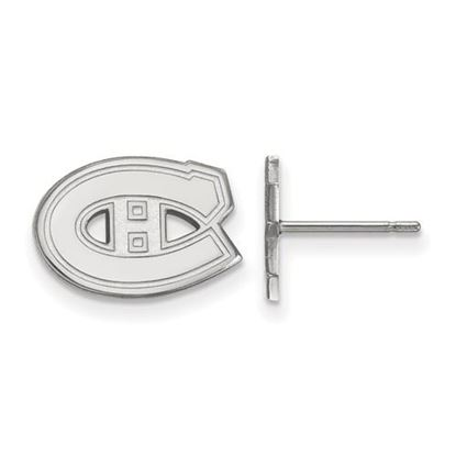 Picture of Montreal Canadiens® 10k White Gold Extra Small Post Earrings