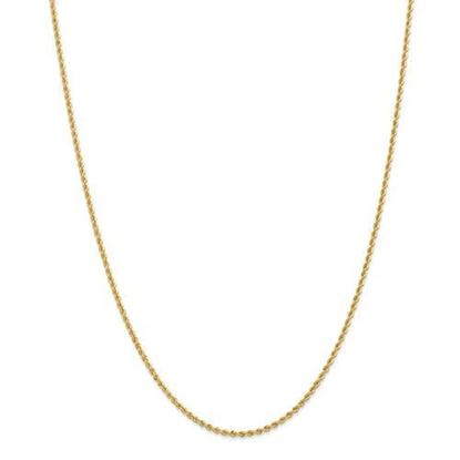 14k Yellow Gold 2mm Regular Rope Chain Necklace