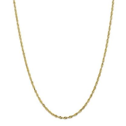 10k Yellow Gold 2.50mm Diamond Cut Extra-Lite Rope Chain Necklace