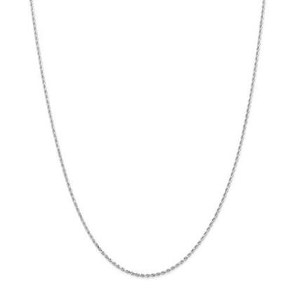 14k White Gold 1.5mm Diamond Cut Rope Chain Necklace