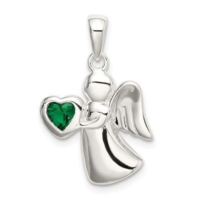 Sterling Silver Angel Dark Green CZ Heart Pendant