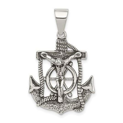 Sterling Silver Antiqued Mini INRI Crucifix Pendant