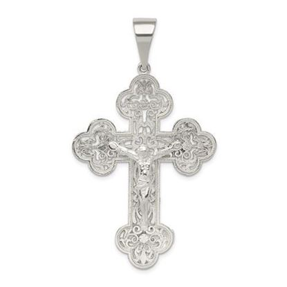 Sterling Silver Polished INRI Crucifix Pendant