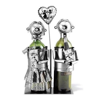 Wedding Couple Metal Wine Caddy