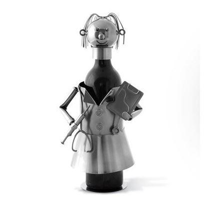 Female Nurse Metal Wine Caddy