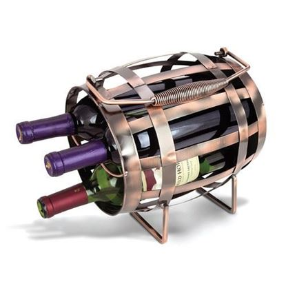 3-Bottle Barrel Metal Wine Caddy