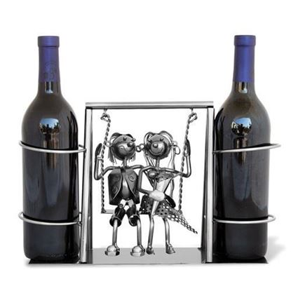 Young Couple On A Swing 2-Bottle Metal Wine Caddy