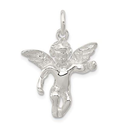 Picture of Sterling Silver Polished Full Angel Figure 3-D Pendant