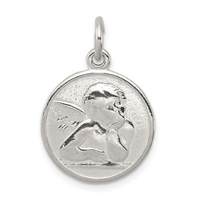 Picture of Sterling Silver Polished and Textured Small Raphael Angel Pendant