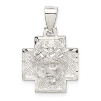 Picture of Sterling Silver Diamond Cut Satin and Polished Ecce Homo Medal Pendant
