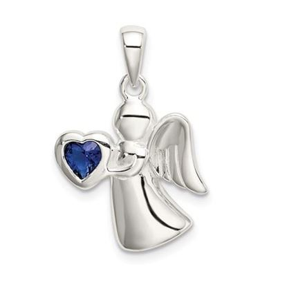 Picture of Sterling Silver Angel Dark Blue CZ Heart Pendant