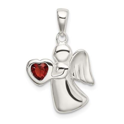 Picture of Sterling Silver Angel Dark Red CZ Heart Pendant