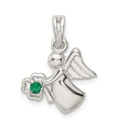 Picture of Sterling Silver Green Crystal Angel Clover Pendant