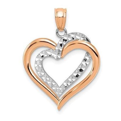 14K Two-tone Rose Gold Hearts Pendant