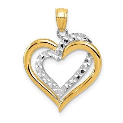14K Two-tone Yellow Gold Hearts Pendant