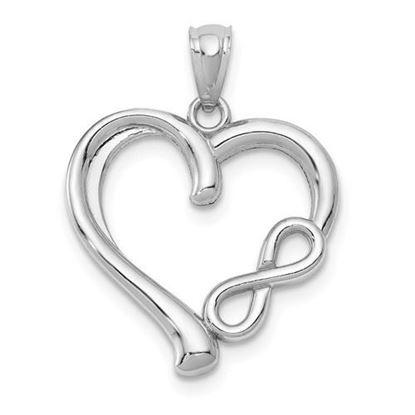14k White Gold Infinity Heart Pendant