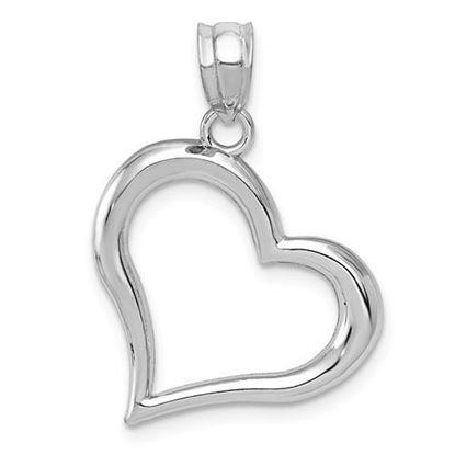 14k White Gold Open Heart Pendant