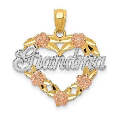 14k Yellow and White Gold Grandma Heart Pendant
