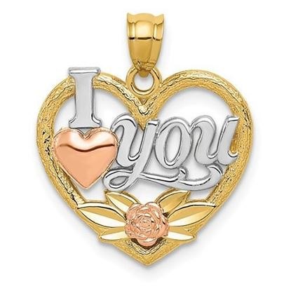 14k Yellow and White Gold I Love You Heart Pendant