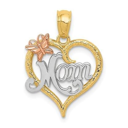 14k Yellow and White Gold Mom Heart Pendant