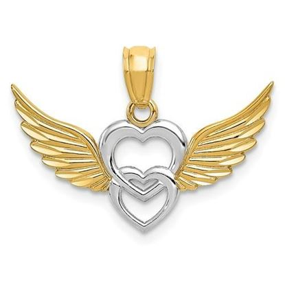 14K Yellow and White Gold Winged Hearts Pendant