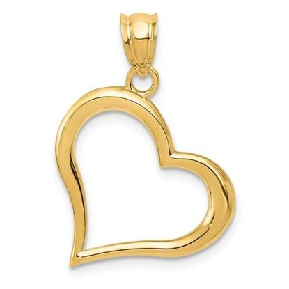 14K Yellow Gold Crooked Heart Pendant